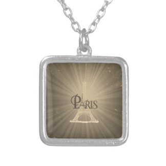 Sepia retra del gris de París de la torre Eiffel Collar Personalizado