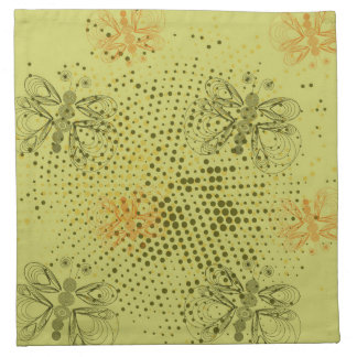 Sepia retro pattern with butterflies cloth napkin