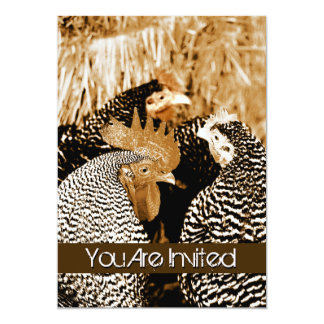 Sepia Rooster and Hens Country Wedding Invitations