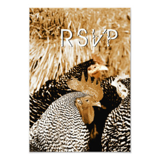 Sepia Rooster Hens Country Wedding RSVP Cards