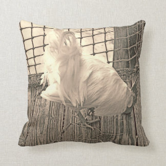 sepia rooster template throw pillow