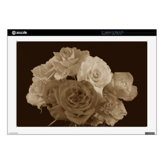 "Sepia Rose Bouquet 17"" Laptop Decals"