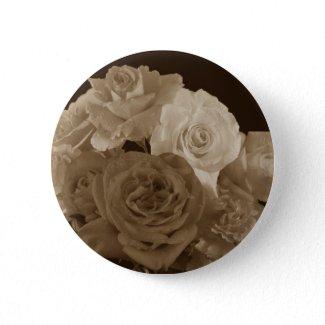 Sepia Rose Bouquet Button