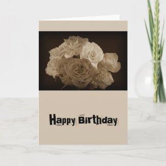 Sepia Rose Bouquet Cards