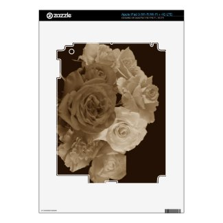 Sepia Rose Bouquet Decal For Ipad 3