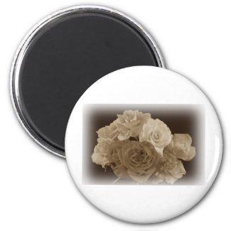 Sepia Rose Bouquet Fridge Magnets