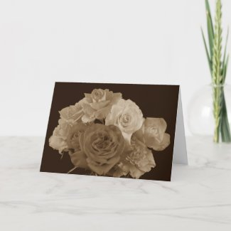 Sepia Rose Bouquet Greeting Card