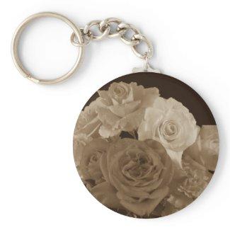 Sepia Rose Bouquet Key Chain