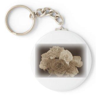 Sepia Rose Bouquet Key Chains