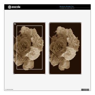 Sepia Rose Bouquet Kindle Fire Decals