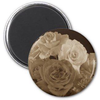 Sepia Rose Bouquet Magnet