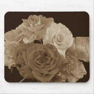 Sepia Rose Bouquet Mouse Pads