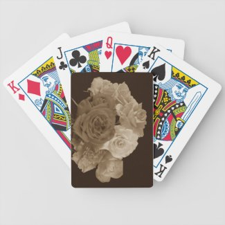 Sepia Rose Bouquet Poker Cards