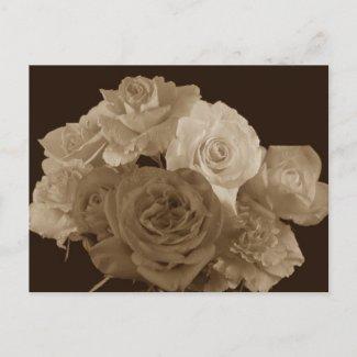 Sepia Rose Bouquet Postcards