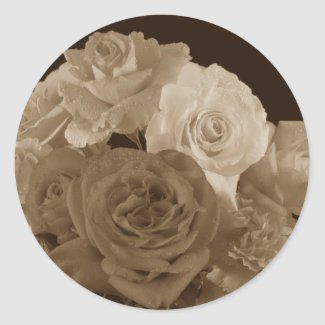 Sepia Rose Bouquet Round Stickers