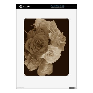 Sepia Rose Bouquet Skin For Ipad