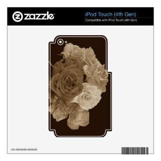 Sepia Rose Bouquet Skin For Ipod Touch 4g