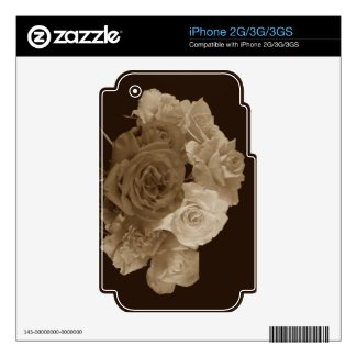 Sepia Rose Bouquet Skins For Iphone 2g