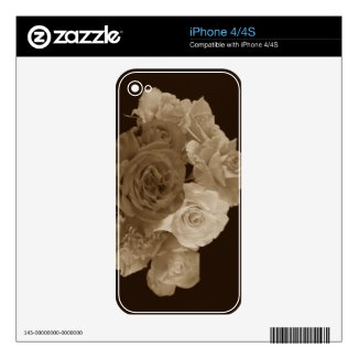 Sepia Rose Bouquet Skins For Iphone 4
