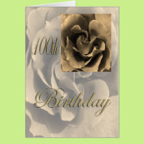 Sepia Rose Happy 100th Birthday Card
