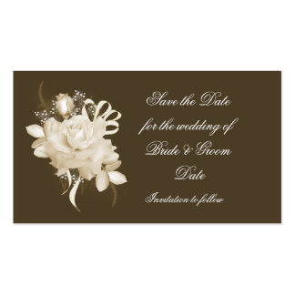 Sepia Rose Save the Date Business Card Template
