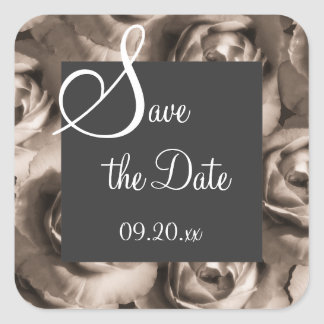"""Sepia Rose """"Save the Date"""" Stickers"""