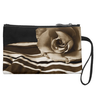 Sepia Rose Sueded Mini Clutch Bag