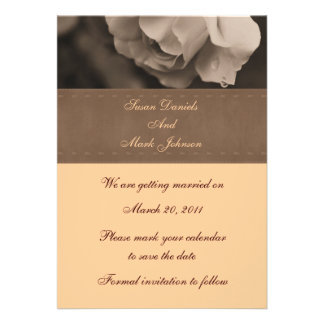 Sepia Rosebud Flower Wedding Save The Date Personalized Invite