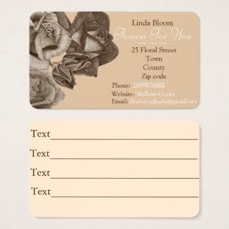 sepia roses rose buds flowers art gardener florist business card
