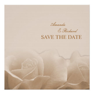 Sepia Roses - save the date announcement