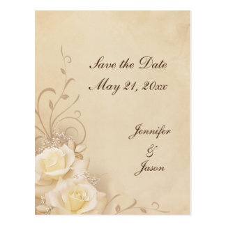 Sepia Roses - Save the Date Postcards