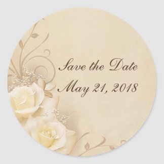 Sepia Roses - Save the Date Stickers