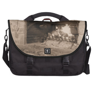 Sepia Rustic Cozy Log Fire Fireplace Winter Hearth Commuter Bags