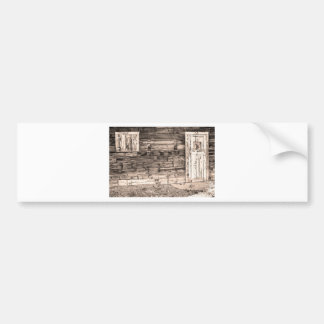 Sepia Rustic Old Colorado Barn Door and Window Bumper Sticker