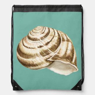 Sepia Shell rayado en trullo Mochila