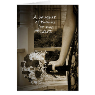"""Sepia Sister """"Maid of Honor"""" Bouquet Thank You Greeting Card"""