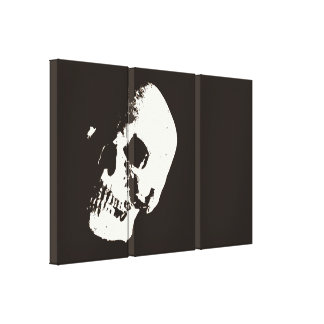 Sepia Skull Pop Art Wrapped Canvas - 3 Canvases Se