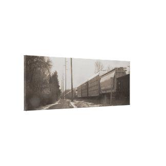 Sepia Snow Train Canvas Print