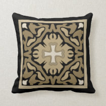 Sepia Spanish Tile on Black Background Throw Pillow