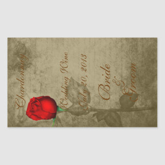 Sepia Spot Color Red Rosebud Wedding Wine2 Stickers