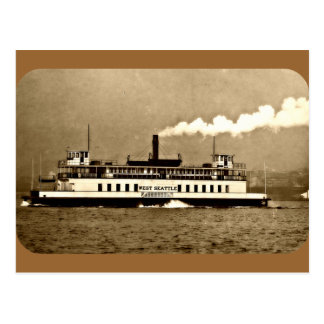 Sepia Steamboat Ferry Postcard