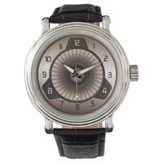 Sepia Steel Jet Engine Pilot's Custom Wrist Watch