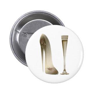 Sepia Stiletto Shoe and Celebration Champagne Pinback Button
