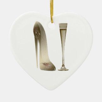 Sepia Stiletto Shoe and Celebration Champagne Ceramic Ornament