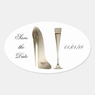 Sepia Stiletto Shoe and Celebration Champagne Oval Sticker