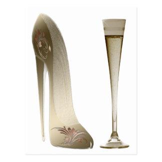 Sepia Stiletto Shoe and Celebration Champagne Postcard