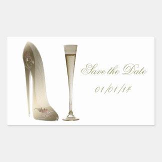 Sepia Stiletto Shoe and Celebration Champagne Rectangular Sticker