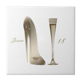 Sepia Stiletto Shoe and Celebration Champagne Tile