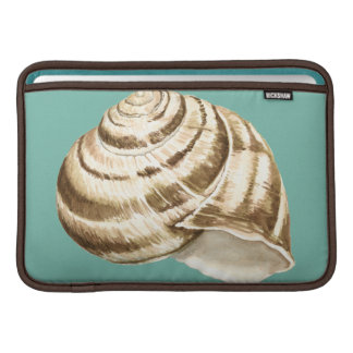 Sepia Striped Shell on Teal MacBook Air Sleeve