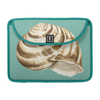 Sepia Striped Shell on Teal MacBook Pro Sleeve